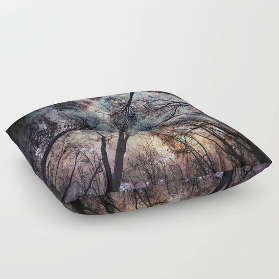 """Starry Sky in the Forest FLOOR Pillow, Square 26"""" and 30"""", Floor Cushion, Eye Candy, Dorm, Teen Decor, Office, Home Statement Piece, Trees"""