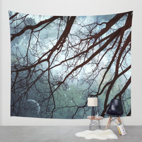 Trees Moon Wall Tapestry, Stars, Forest, Night Sky Home Decor, Nature, Office, Nature, Dorm, Mystic, Whimsical Tree Branches,Woodland,Woods