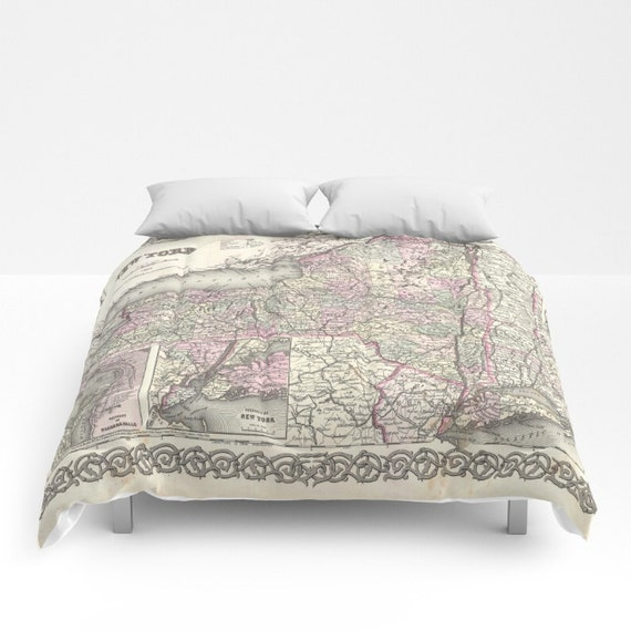 Antique New York Map Comforter, Vintage New York Map Bedding, Old Map Bedspread, Decorative, Unique, Dorm, New York Map Decor, Antique Map