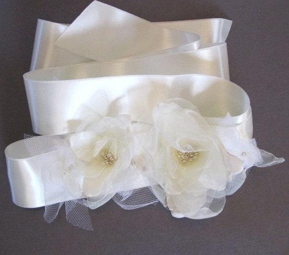 Last Piece - Bridal Ivory Organza Flower Satin Sash Belt Tulle, Rhinestone, FREE Shipping, Unique Fabric Flower, Handmade