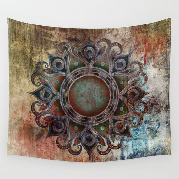 MANDALA - Zombie Large Wall Tapestry, Sanskrit, University, Contemporary, Indoor, Outdoor,Buddhism,Symbol, Privacy screen,Dorm, Modern Decor