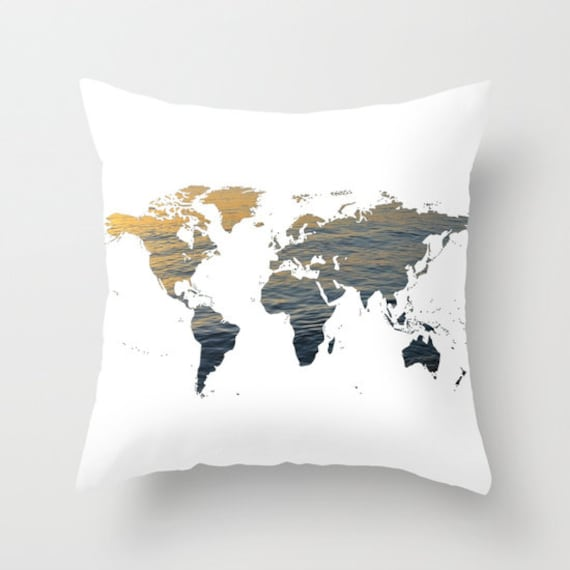 Sea Texture World Map Pillow, World Map Home Decor, Interior Design, Accent Piece,  World Map, Dorm, Office Pillow, Brown Black White