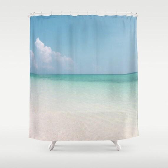 Calm Waters Shower Curtain, Beach Shower Curtain, Bathroom, Aqua Blue Home Decor, Nautical Shower Curtain, Nature Shower Curtain, Surf, Sand