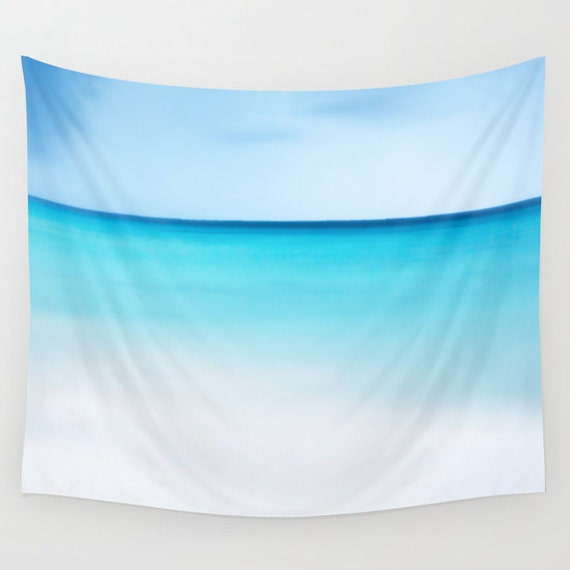 Ocean Tapestry, Nautical Tapestry, Coastal Large Wall Decor, Surf Photo, Aqua Blue, Nature, White Beach, Sea, Calm Waters, Dorm, Office