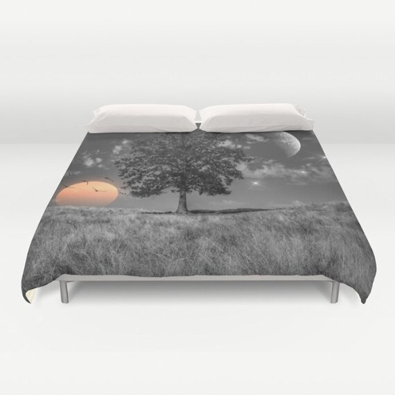 Night and Day Duvet Cover, Surreal Bedding, Dreamy Bedding, Unique Design, Dorm, Gray, Modern, Sunset Bedding, Nature, Sun Moon Bedding