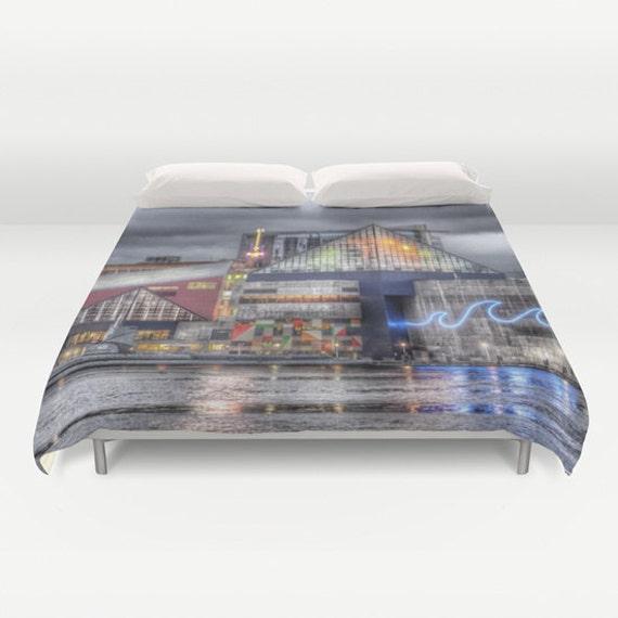 Baltimore Duvet Cover, Decorative bedding, unique design, modern, urban, Maryland, Inner Harbor bedding, city landscape bedding, dorm
