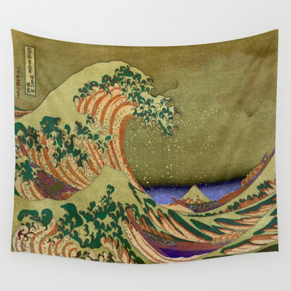 Version Of The Great Wave Off Kanagawa Tapestry, Vintage Large Size Wall Art, Office Decor, Ocean Tapestry, Dorm Decor, Olive Green Wall Art