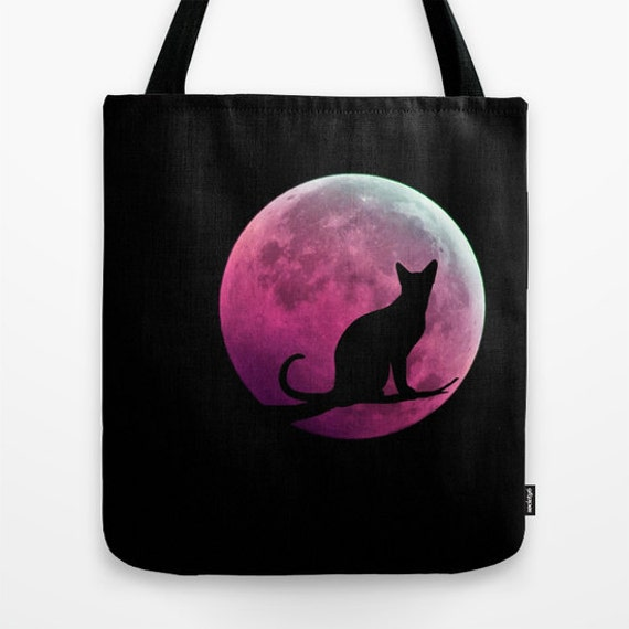 Cat and Full Moon Tote Bag, Black Pink Tote, Shopping Tote, Office, Shoulder Bag, Beach, Party, Halloween, School, Nature, Fantasy, Magical