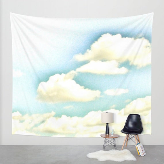 Cloudy Sky 2 Wall Tapestry, Aqua Blue Large Size Wall Art, Modern Decor, Nature, Wedding Gift, Outdoor, Office, Whimsical Tapestry, Dorm Art