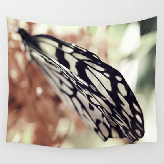 Butterfly Wall Tapestry, Butterfly Wings Wall Art , Nature Fine Art Photography, Bokeh Tapestry, Dorm, Office, Botanical, Dreamy,Whimsical