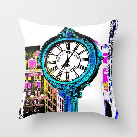 Fifth Avenue Building Clock New York Throw Pillow 16x16 18x18