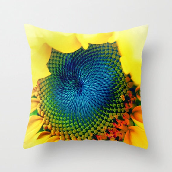 Throw Pillow, Sunflower Pillow, Office, Dorm, Decorative Pillow, Yellow, Floral, Vivid, Bold, Cover, Cushion, Wedding Gift, Sunny, Blue
