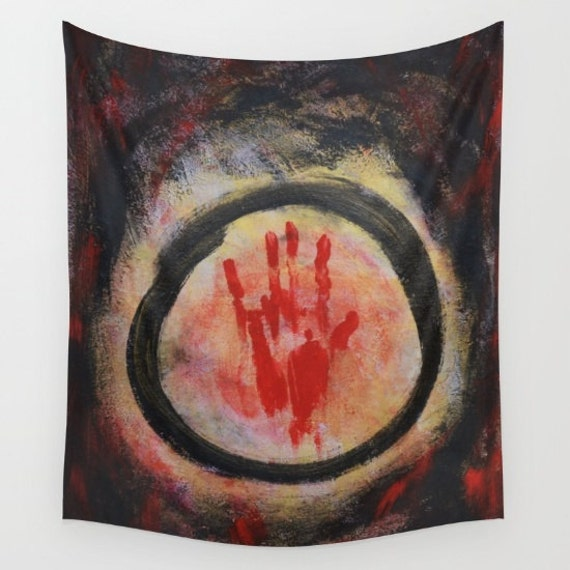 Enso - Confine Tapestry, Zen Tapestry, Black Red Tapestry, Dorm, Office, Buddhism Large Wall Decor, Japanese Art, Symbolism, Spirit Mind
