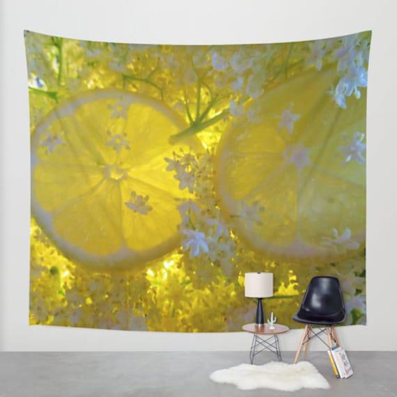 Lemon Tapestry, Yellow, Fruit, Office, Bar, Pub, Large Wall Decor, Lemon Home Decor, Dorm Wall Hanging, Elder flower, Bold, Happy,Sour