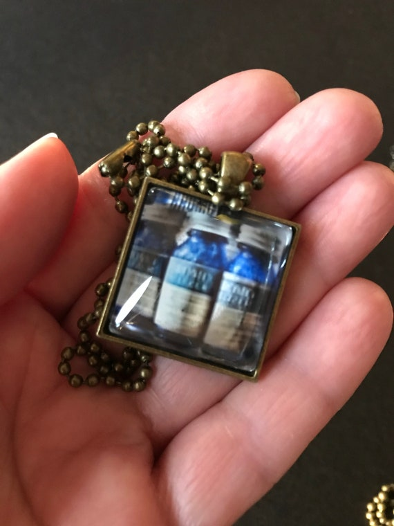 Bromo Seltzer Antique Bottles Square Metal Bezel Glass Dome Pendant with Ball Chain Necklace - One Of A Kind - Photography by Marianna Mills