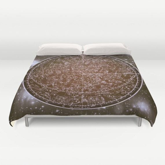 ZODIAC Map Duvet Cover, Vintage Map Bedding, Brown Map Bedspread, Decorative, Unique Design, Dorm, star sign, Ancient Zodiac Map Decor,Space