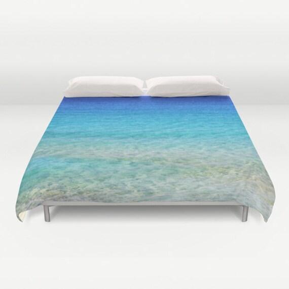 Calm Waters Duvet Cover, Ocean Decorative bedding, unique design, Nautical, Aqua Blue, Surf, Water, Blue hues, Shades, Dorm, peaceful, happy