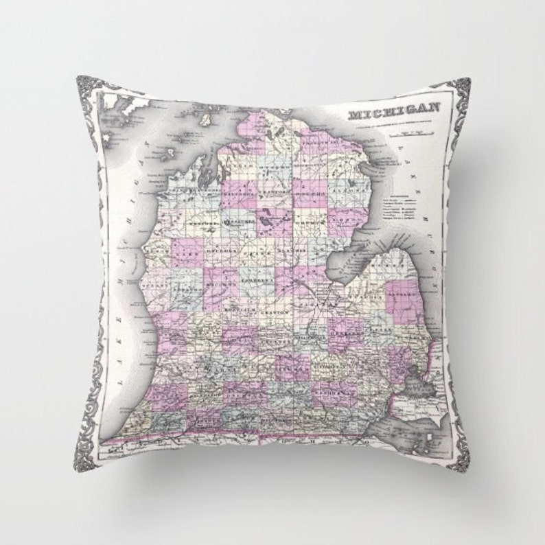 Antique Michigan Map Throw Pillow Vintage Map Pillow Old image 0