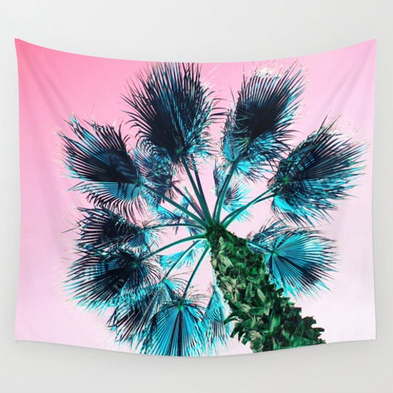 Palm Tree Wall Tapestry, Tropical Large Size Wall Art, Fine Art Photograph,Nature, Office, free shipping, Garden, Pink Sky, Dorm, Blue