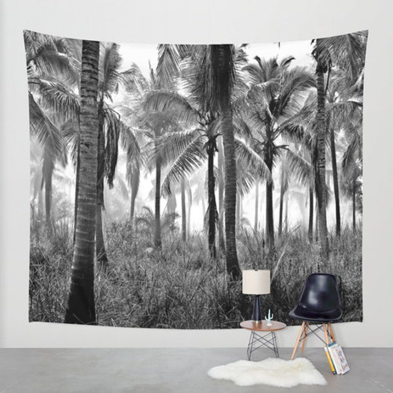 Palm Trees Wall Tapestry, Tropical Large Size Wall Art, Fine Art Photography, Modern Decor, Nature, Office, Palms, Dorm, Goth Noir Forest