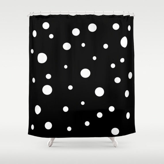 Black White Polka Dot Shower Curtain Retro Bathroom Modern Etsy