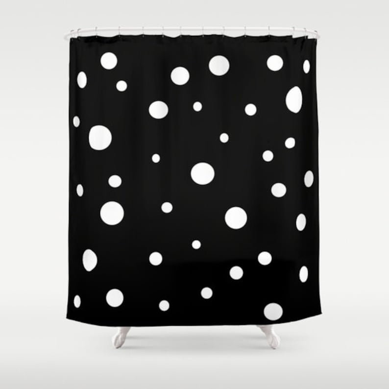 Black White Polka Dot Shower Curtain Retro Bathroom Modern