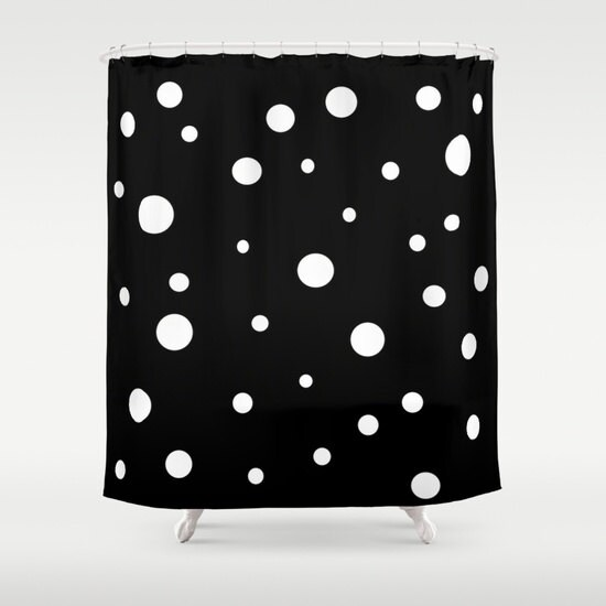 Black White Polka Dot Shower Curtain Retro Bathroom Modern Home Decor Abstract Circles CurtainBlack