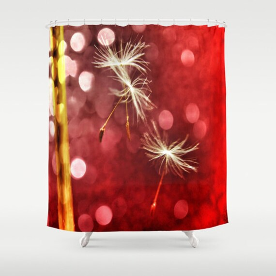Red Shower Curtain, Dandelion Bathroom, Make a Wish Home Decor, Whimsy Photo Shower Curtain, Nature, Love Home Decor, White, Interior Design
