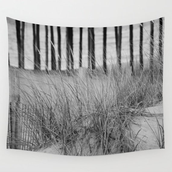 Sand Dunes in Ocean City, Maryland Tapestry, Black White, Nautical, Coastal Large Wall Decor, Photo, Dorm, Office, Nature, Beach, Ocean