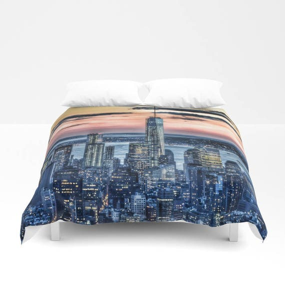 Sunset in New York Duvet Cover, Manhattan bedding, unique design, modern, urban blanket cover, bedroom, city landscape bedding, dorm, teen