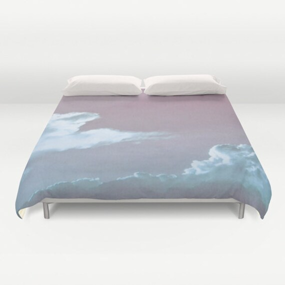 CLOUD Duvet Cover, Cloudy Sky Decorative bedding, fantasy, Nature Bedding, beach, bedroom, dorm, wedding gift, dreamy, whimsical, Aqua Blue