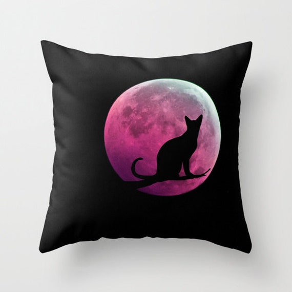 Cat and the MoonThrow Pillow, Black Pink Pillow, Decorative Pillow, Cat Cushion, Halloween, Moon, Office, Full Moon Pillow, Dorm, Night Sky