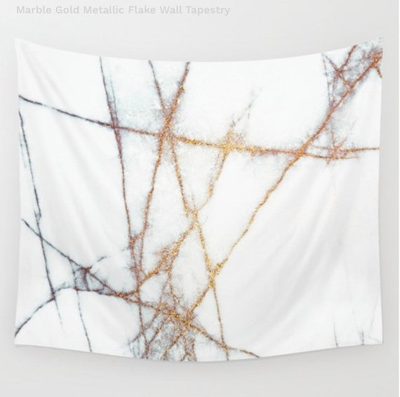Marble Gold Metallic Flake Wall Tapestry, Home Decor, Abstract Art, Nature, White, Stone Texture, Office, Dorm, Trend, Fashion, Fab, Rad