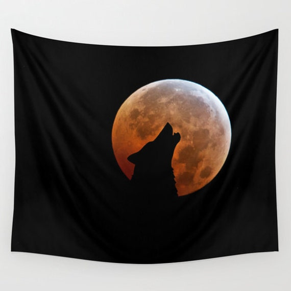 WOLF and the Blood Moon Wall Tapestry, Full Moon, Office, Howling Wolf Tapestries, Black, Noir Wall Art, Fantasy Home Interior, Dorm Art