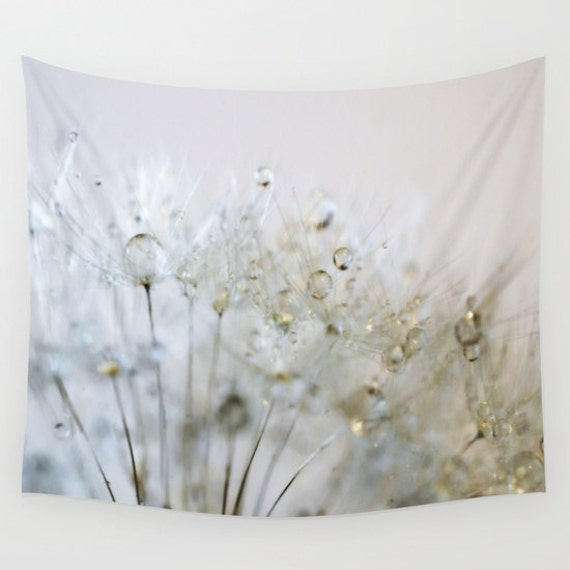 Dandelion Wall Tapestry, Gold Wall Art, Silver Large, Dorm, Raindrops Fine Art Photography, Nature, Outdoor, office, Whimsical, Dew, Water