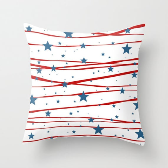 Throw Pillow, Stars and Stripes, 4th of July, Patriotic, Dorm, Blue, Red, White, Home Decor, Decorative Pillow, Cushion, Office Pillow