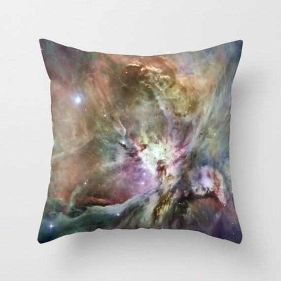 Orion Nebula 2 Throw Pillow, Space Decorative Pillow, Nature Cushion, Black, Brown Pillow, Steampunk, Noir Goth, Stars Planets, Office, Dorm