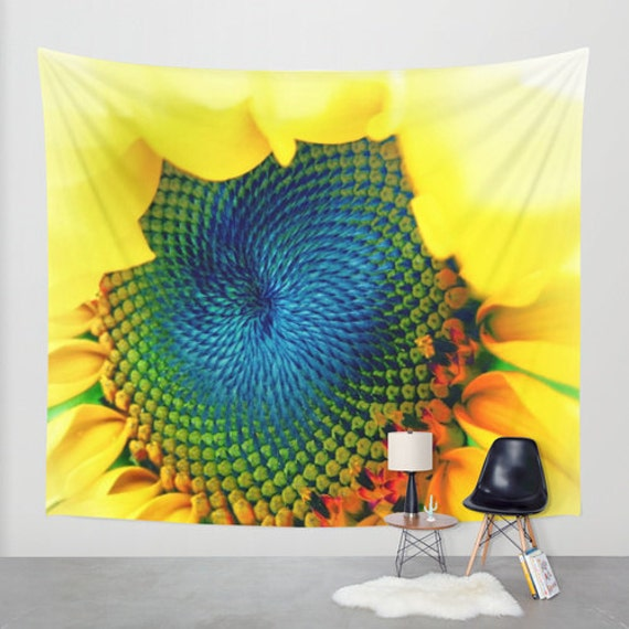 Solar Energy - Wall Tapestry, Wall Art , Fine Art Photography, Modern, Home, Nature, Flower, Sunflower,Wedding, Office, Floral, Dorm, Yellow