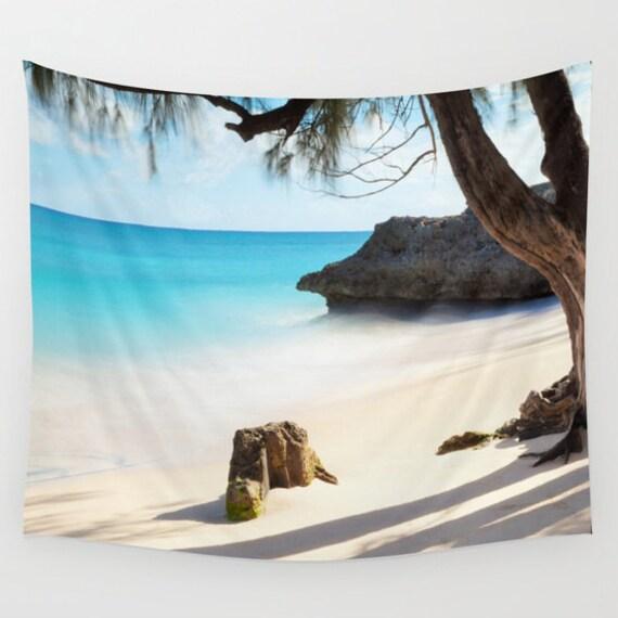 Beach Tapestry, Nautical Tapestry, Coastal Large Wall Decor, Surf Photo Tapestry, Aqua Blue, Nature, Office, Sea Water, Dorm, Tree, Rock
