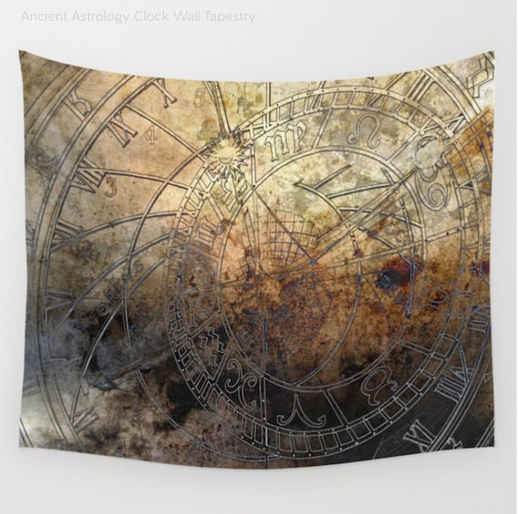 Antique Astrology Clock Wall Tapestry, Vintage, Ancient, Large Size Wall Art, Modern, Dorm, Office, Beach Hut Decor,Brown, video backdrop