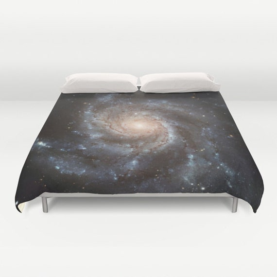 Spiral Galaxy Duvet Cover, Black Decorative bedding, unique design, Space bedding, Dorm, Noir, Goth, Messier 77, Nature, Planets Stars