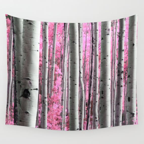 Aspen Tree Wall Tapestry, Birch Tree Wall Art, Surreal Forest Wall Art, Modern, Home, Nature, Dorm, office, Pink Trees, Contemporary Woods