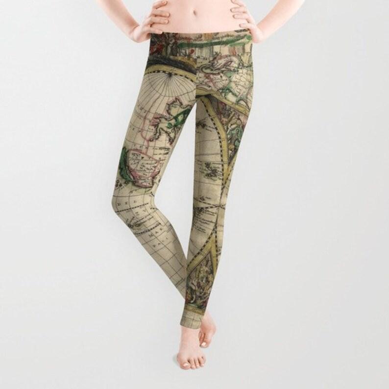 Carte de vieux monde carte Leggings pantalons de Yoga mode  c91638a9e06