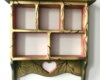 hand painted solid wood display shelf by Marianna Mills - one of a kind repurposed vintage art