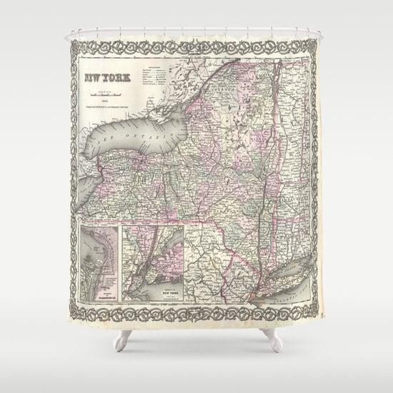 Old New York Map Shower Curtain Vintage New York Map Shower Curtain