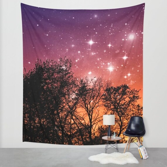 Tropical Night Sky Wall Tapestry, Stars, Forest, Star, Nature, Dorm, Office, Home Decor, Whimsical Tree Branches, Woodland, Woods, Vibrant