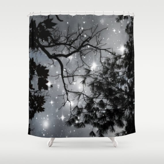 Starry Night Shower Curtain, Stars Bathroom, Black and White Home Decor, Tree Shower Curtain, Nature Home Decor, Whimsical, Night Sky, Noir