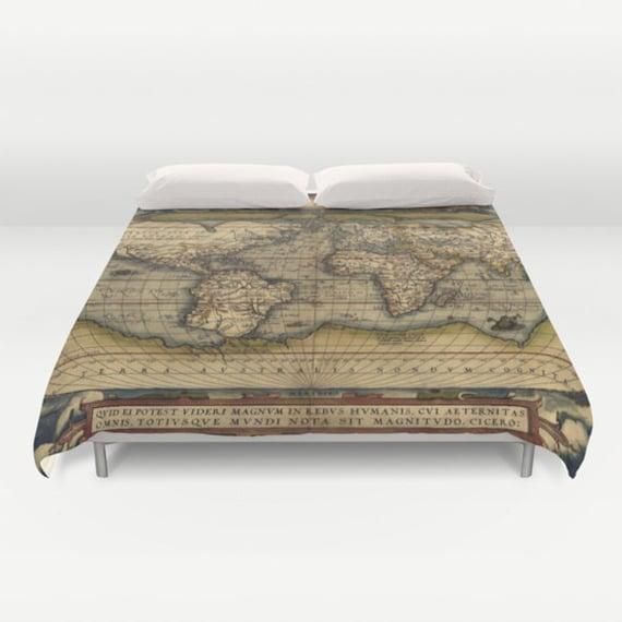 Antique World Map Duvet Cover, Vintage World Map Bedding, Old Map Bedspread, Decorative, Unique Design, World Map Decor, Dorm, Old Map,Brown