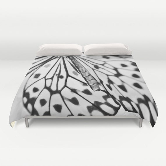 BUTTERFLY WINGS Duvet Cover, Made to Order, Butterfly Decorative Bedding, Blanket Cover, Bedroom, Black White, Nature Duvet Cover, Dorm