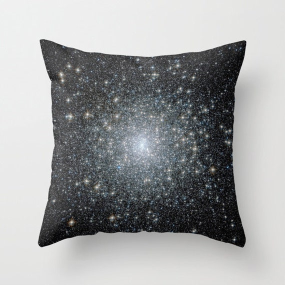 Messier 15 Throw Pillow, Space Decorative Pillow, Nature Cushion, Black, Steam-punk, Stars, Planets, Milky Way, Office, Dorm, science, teen